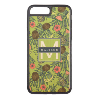 Tropical Fruit Sketch on Green Pattern Carved iPhone 8 Plus/7 Plus Case