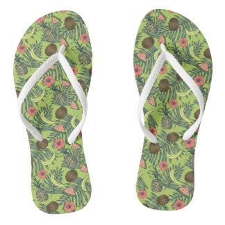 Tropical Fruit Sketch on Green Pattern Flip Flops