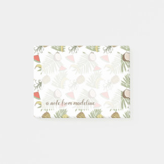 Tropical Fruit Sketch Pattern Post-it Notes
