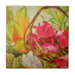 Tropical Fruit watercolor original art still life Small Square Tile