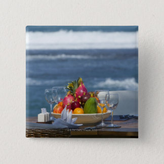 Tropical Fruits By The Ocean On Table 2 15 Cm Square Badge