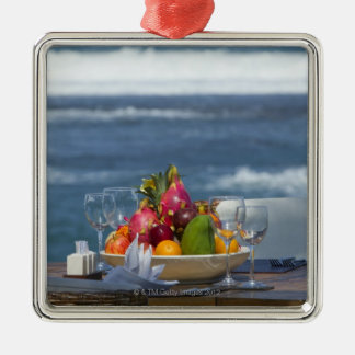 Tropical Fruits By The Ocean On Table 2 Christmas Ornament