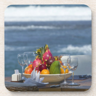 Tropical Fruits By The Ocean On Table 2 Coaster