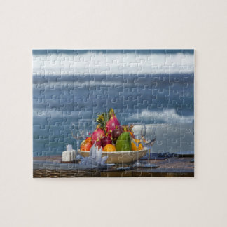 Tropical Fruits By The Ocean On Table 2 Jigsaw Puzzle
