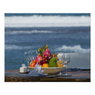 Tropical Fruits By The Ocean On Table 2 Poster