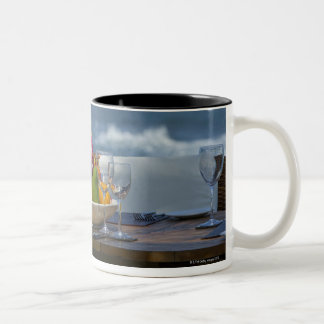 Tropical Fruits By The Ocean On Table 2 Two-Tone Coffee Mug