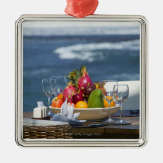 Tropical Fruits By The Ocean On Table Christmas Ornament