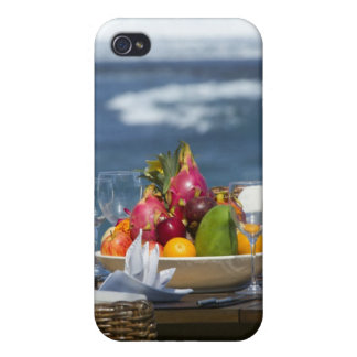 Tropical Fruits By The Ocean On Table iPhone 4 Covers
