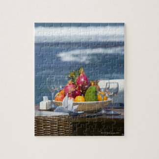 Tropical Fruits By The Ocean On Table Jigsaw Puzzle