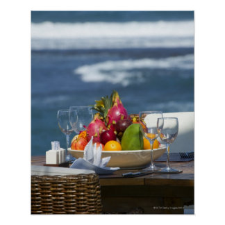 Tropical Fruits By The Ocean On Table Poster