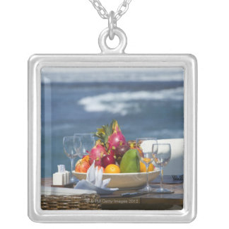 Tropical Fruits By The Ocean On Table Silver Plated Necklace