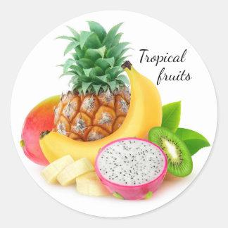 Tropical fruits round sticker