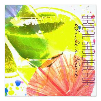 "Tropical funky Cocktail glass bridal shower invite 5.25"" Square Invitation Card"