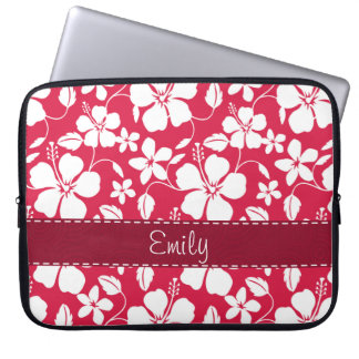 Tropical Fuschia Floral Pattern Laptop Computer Sleeves