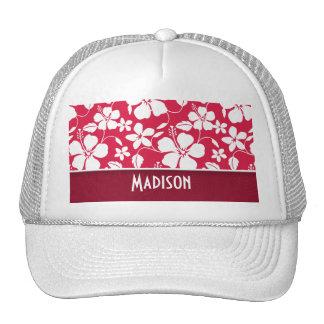 Tropical Fuschia Hibiscus; floral Trucker Hat