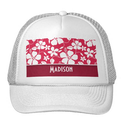 Tropical Fuschia Hibiscus; floral Trucker Hat