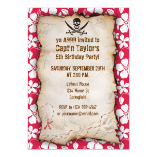 Tropical Fuschia Hibiscus Jolly Roger 5x7 Paper Invitation Card