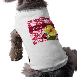 Tropical Fuschia Hibiscus; Ladybug Sleeveless Dog Shirt
