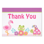 Tropical Garden/Animals Baby Shower Thank You Card 13 Cm X 18 Cm Invitation Card