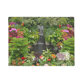Tropical garden pond and waterfall doormat