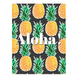 Tropical Geometric Pineapple Pattern Postcard