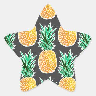 Tropical Geometric Pineapple Pattern Star Sticker