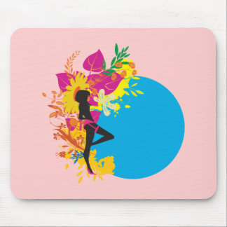 tropical girl vector design mouse pad