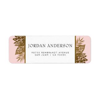 Tropical Gold Flowers on Pink   Exotic Wedding Return Address Label