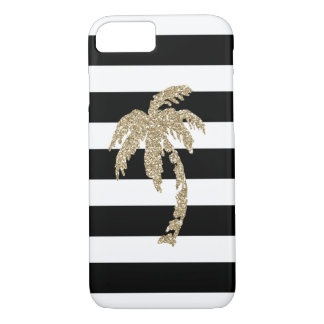 Tropical Gold Glitter Palm Tree on Black & White iPhone 8/7 Case