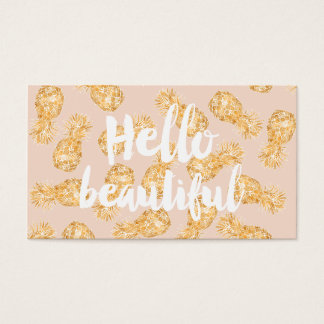 Tropical gold Hawaiian pineapple beauty typography Business Card