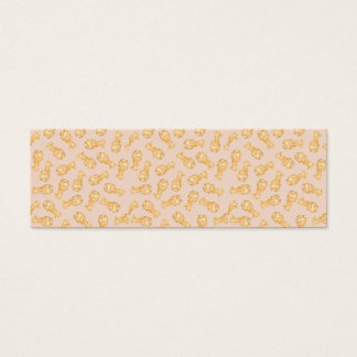 Tropical gold Hawaiian pineapples pattern on pink Mini Business Card