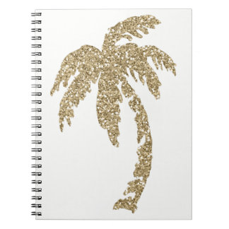 Tropical Gold Palm Tree Custom Spiral Notebook