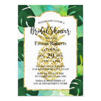 Tropical Gold Pineapple Bridal Shower Watercolor Card