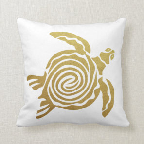 Tropical Gold Turtle Hawaii Modern White Cushion