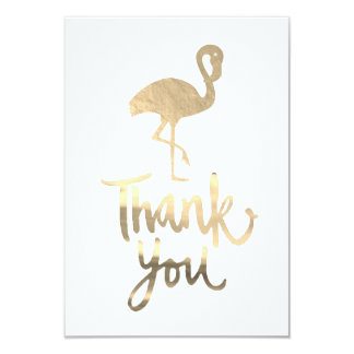tropical golden flamingo thank you card