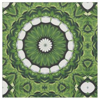 Tropical Green and White Flora Mandala Fabric