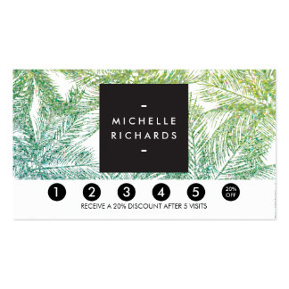 Tropical Green/Aqua Glitter Palms Loyalty Card Pack Of Standard Business Cards