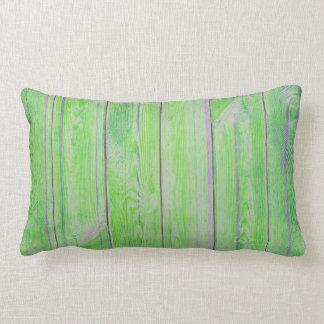 Tropical Green Bamboo Metallic Wood Cottage Home Lumbar Cushion