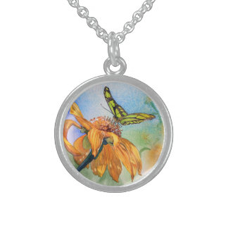 Tropical Green Butterfly Watercolor Round Pendant Necklace