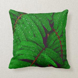Tropical Green Jungle Fern Plant Leaves Cushion
