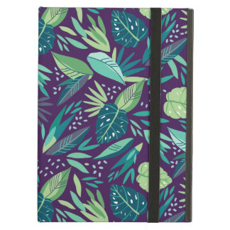 Tropical Green Leafs On Purple Background Cover For iPad Air