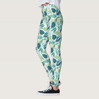 Tropical Green Leafs Pattern Leggings