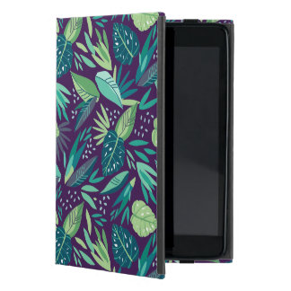 Tropical Green Leafs Pattern On Purple Background iPad Mini Case