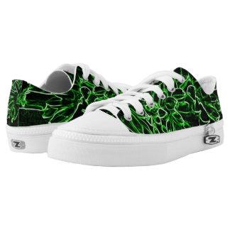 Tropical Green Neon Flowers Ladies' Sneakers