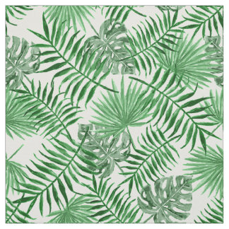 Tropical Green Palm Leaves Summer Pattern Fabric