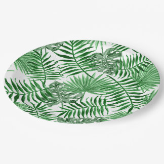 Tropical Green Palm Leaves Summer Pattern Paper Plate