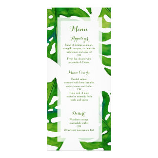 Tropical green palm leaves wedding dinner menu personalised rack card