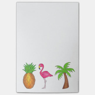 Tropical Green Palm Tree Pineapple Pink Flamingo Post-it Notes