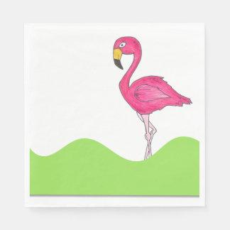 Tropical Green Pink Flamingo Bird Print Napkins Paper Napkins