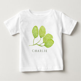 TROPICAL GREEN WATERCOLOUR FOLIAGE LEAF  MONOGRAM BABY T-Shirt